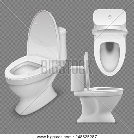 Toilet Bowl. Realistic White Home Toilet In Top And Side View. Isolated Vector Illustration. Clean L