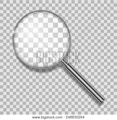 Magnifying Glass With Steel Frame Isolated. Realistic Magnifying Lens For Zoom On Checkered Backgrou