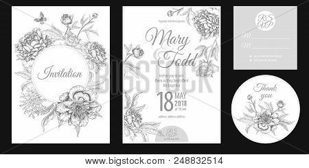 Wedding Invitation Cards. Invite, Thank You, Rsvp Templates. Decoration With Garden Flowers Peonies,