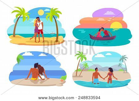 Couples Collection Seaside, People In Love Having Good Time Together By Seaside, Swimming And Sailin