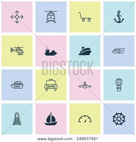 Shipping Icons Set With Railroad, Shipping Tour, Navigation And Other Taxi Elements. Isolated Vector