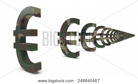 Euro Currency Sign With Army Camouflage Paint. Economy War Concept. Suitable For Economy, Finance, B