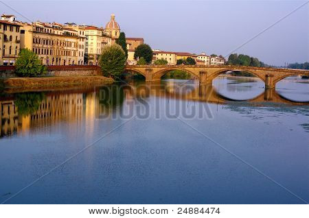 Dawn on the Arno River in Florence, Italy