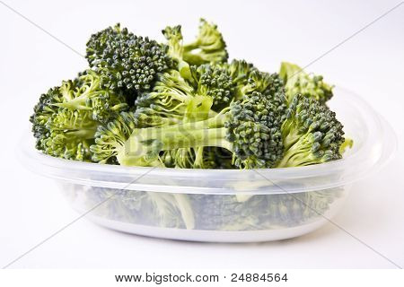 Broccoli In A Plastic Storage Container