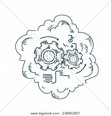 Gear Wheel Processing Mechanism Process Strategy Concept On White Background Sketch Doodle Vector Il