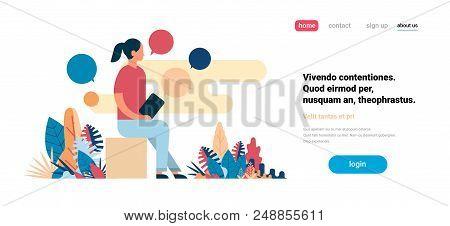 Woman Using Laptop Chat Bubbles Working Process Messenger Concept Flat Horizontal Copy Space Vector