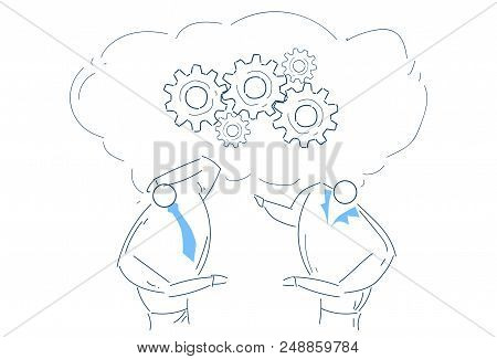 Two Men Brainstorming Gear Wheel Working Together Process Strategy Concept Sketch Doodle Vector Illu