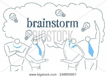 Business People Team Brainstorming Idea Light Lamp Working Together Process Strategy Concept Sketch