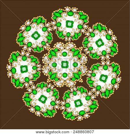 Mandala brooch jewelry, design element.  Geometric vintage ornamental background. poster