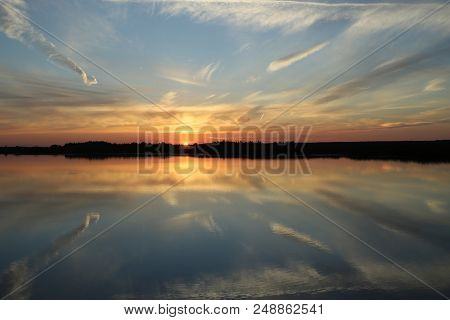 Beautiful Sunset With Clouds On The Volga River. Russia