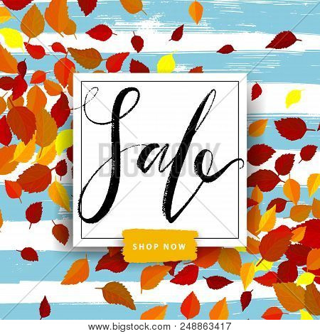 Sale Autumn Poster With Red And Yellow Falling Leaves On Background. Advertisement Banner With Hand