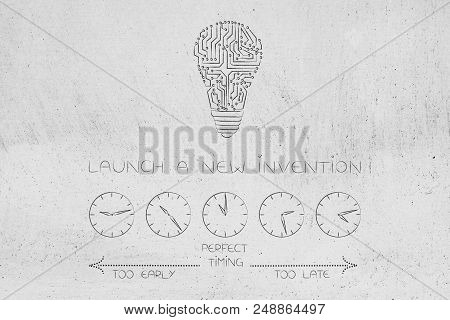 Timing And Business Conceptual Illustration: When To Launch New Inventions Withmicrochip Lightbulb A