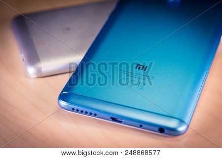 Barcelona, Spain. July 10: Xiaomi Sales Success Redmi Note 5 Smartphones. Xiaomi Corporation Is A Ch
