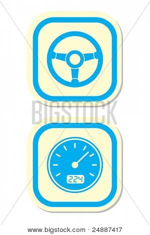 Wheel and Speedometer Icons