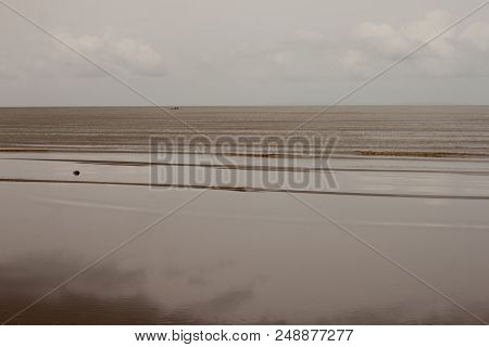Sandy Beach Duty Low Tide With Windy Effect To Fine Sand Reflect Under Sky At Trat Province Of Thail