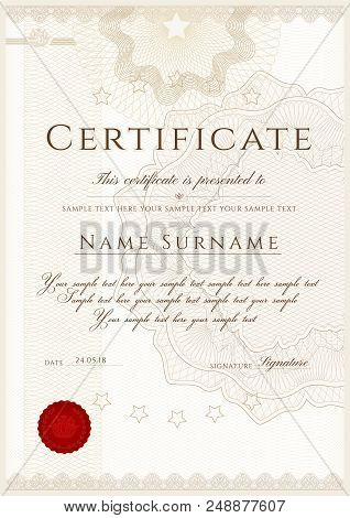 Certificate Template. Printable / Editable Design For Diploma, Certificate Of Appreciation, Certific