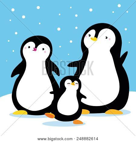 Family Of Penguins Under Snow. Cartoon Family Characters. Vector Isolated Hand Draw. Use As Illustra