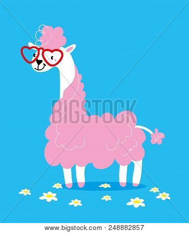 Cute Lama In Glasses In Shape Of A Heart With Pink Hair On A Blue Background. Vector Illustration. H