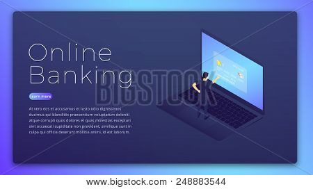 Online Banking. Online Bank App Isometric Concept. Online Banking Hero Image Design.