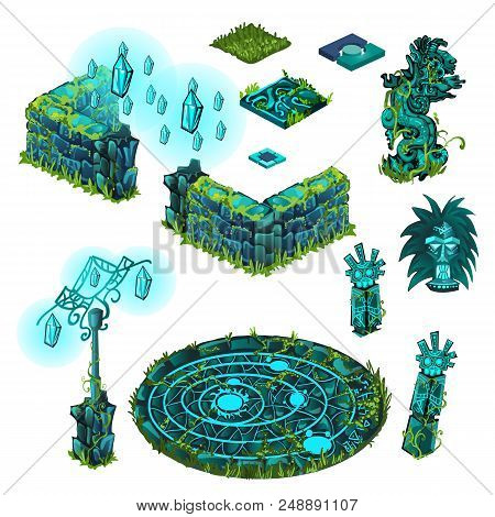 Luminous Objects Turquoise Color. Totem, Stone Fence, Lamppost. The Set Of Elements Of Architecture