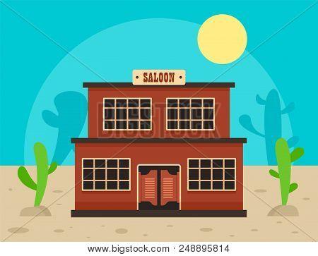 Desert saloon concept background. Flat illustration of desert saloon vector concept background for web design poster