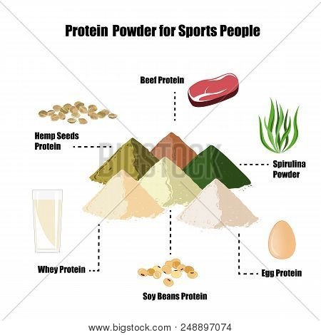 The Most Popular And Healhty Protein Sources For Bodybuilders. Whey Or Casein, Egg, Hemp Seeds, Beef
