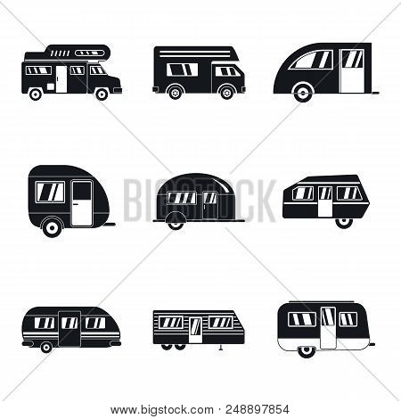 Motorhome car trailer camp house icons set. Simple illustration of 9 motorhome car trailer camp house vector icons for web poster