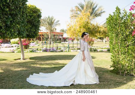 Wife In Perfect Wedding Dress. Wedding Fashion For Pretty Wife. Cute Wife Outdoor. Wife Woman On Bri