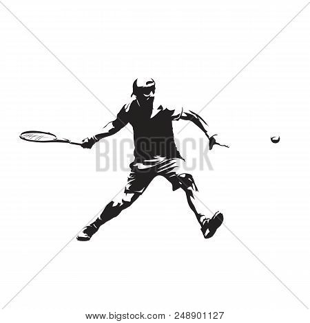 Tennis Player Isolated Vector Drawing, Abstract Silhouette. Forehand. Individual Sport, Active Peopl