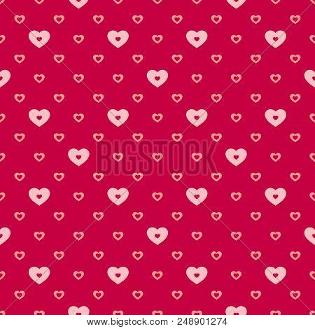 Hearts Vector Seamless Pattern. Valentines Day Background. Abstract Geometric Red And Pink Texture,