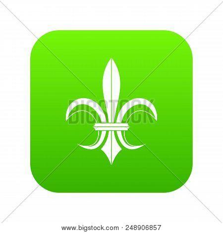 Lily Heraldic Emblem Icon Digital Green For Any Design Isolated On White Vector Illustration