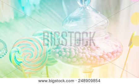 Details of a tasty candy bar with jugs of sweets, cookies and marshmallows, Candy, waffles, cookies and macaroons , sweets concept poster