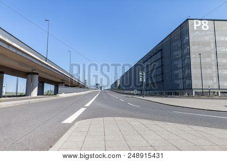 Berlin / Germany - April 29, 2018: Empty Street On Passenger Terminal Berlin Brandenburg Airport, Wi
