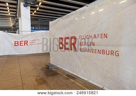 Berlin / Germany - April 29, 2018: Construction Barricade On Passenger Terminal Berlin Brandenburg A