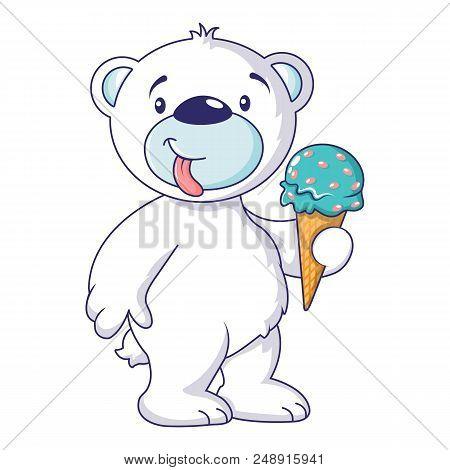 White Bear With Ice Cream Icon. Cartoon Of White Bear With Ice Cream Vector Icon For Web Design Isol