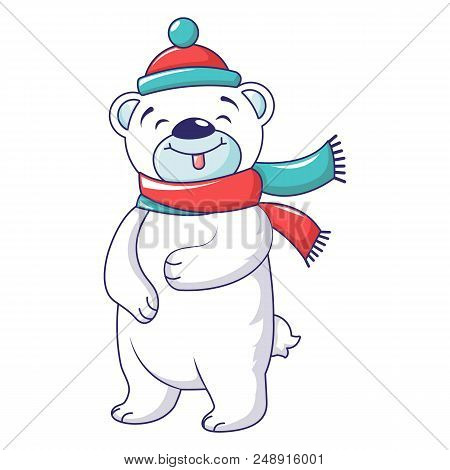 Cute Bear With Winter Clothes Icon. Cartoon Of Cute Bear With Winter Clothes Vector Icon For Web Des