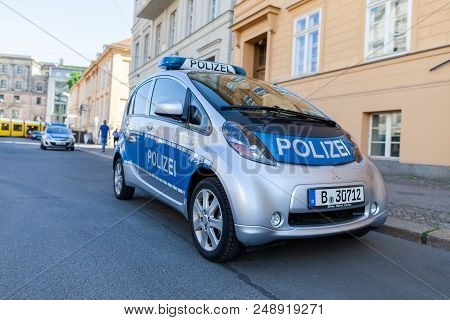 Berlin / Germany - April 29, 2018: Electric German Police Car, Mitsubishi Miev Stands On A Street In