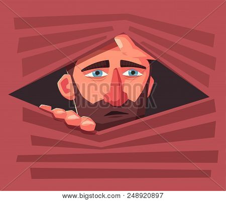 Confused Man Hide. Frightened Person. Character Design. Cartoon Vector Illustration. Man Is Hiding I