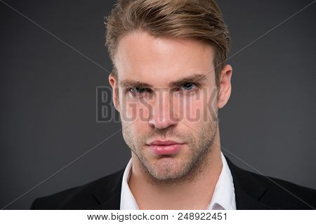 Masculinity And Confidence. Guy Confident In His Appearance. Man Well Groomed With Bristle And Hairs