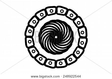 Black Doodle Mandala On White Background. Simple Hand-drawn Mandala Vector. Round Stamp Template. Ci