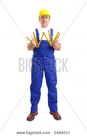 Builder With Wooden Ruler