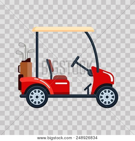 Vector Electric Golf Car With Golf Club Bag. Transport, Vehile On Transparent Background