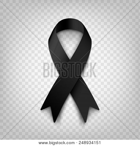 Stock Vector Illustration Black Awareness Ribbon On Transparent Background. Mourning And Melanoma Sy