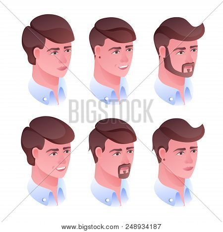 Man Head Hairstyle Vector Illustration For Barbershop Or Hairdresser Salon. Isolated Set Of Male Fac