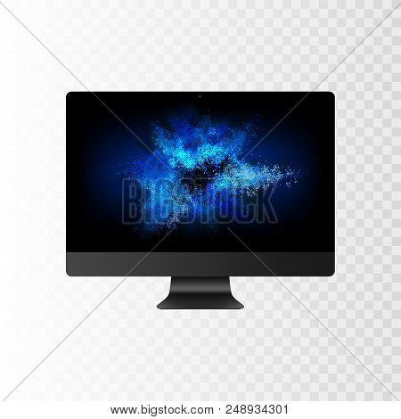 Stock Vector Illustration Realistic Realistic Personal Professional Desktop Computer, Pc. Modern Fla