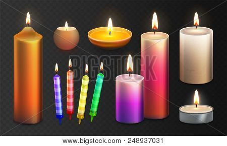 Stock Vector Illustration Realistic 3d Set Multicolor Candles Isolated On A Transparent Checkered Ba