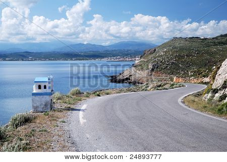 A winding road in Crete