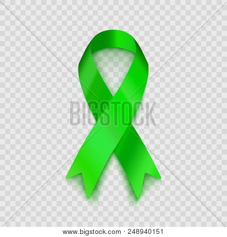 Stock Vector Illustration Lime Green Ribbon Isolated On Transparent Background. Non-hodgkin Lymphoma