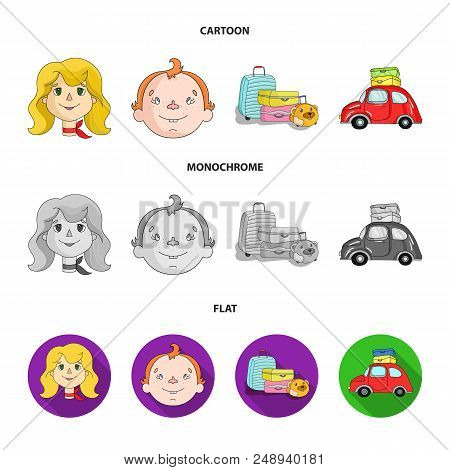 Camping, Woman, Boy, Bag .family Holiday Set Collection Icons In Cartoon, Flat, Monochrome Style Vec