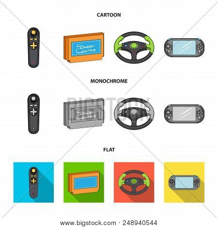Game Console And Joystick Cartoon, Flat, Monochrome Icons In Set Collection For Design.game Gadgets
